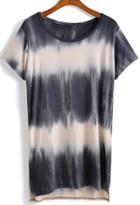 Romwe Tie-dye Side Split T-shirt