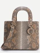 Romwe Brown Snake Embossed Handbag With Strap