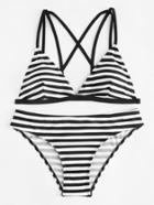 Romwe Strappy Striped Bikini Set
