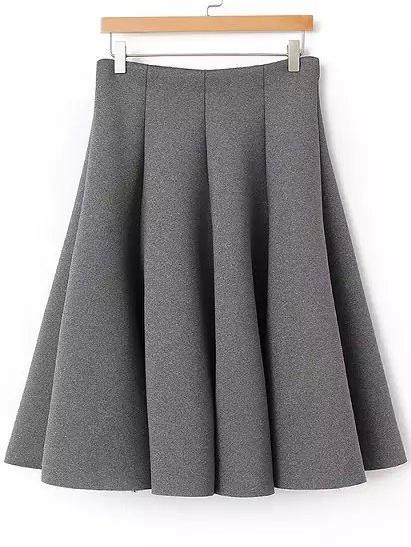 Romwe Pleated Midi Grey Skirt