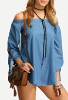 Romwe Off The Shoulder Tie Cuff Blouse