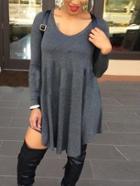 Romwe V Neck Asymmetrical Grey Tshirt Dress