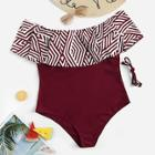 Romwe Plus Chevron Flounce Bardot One Piece Swimwear