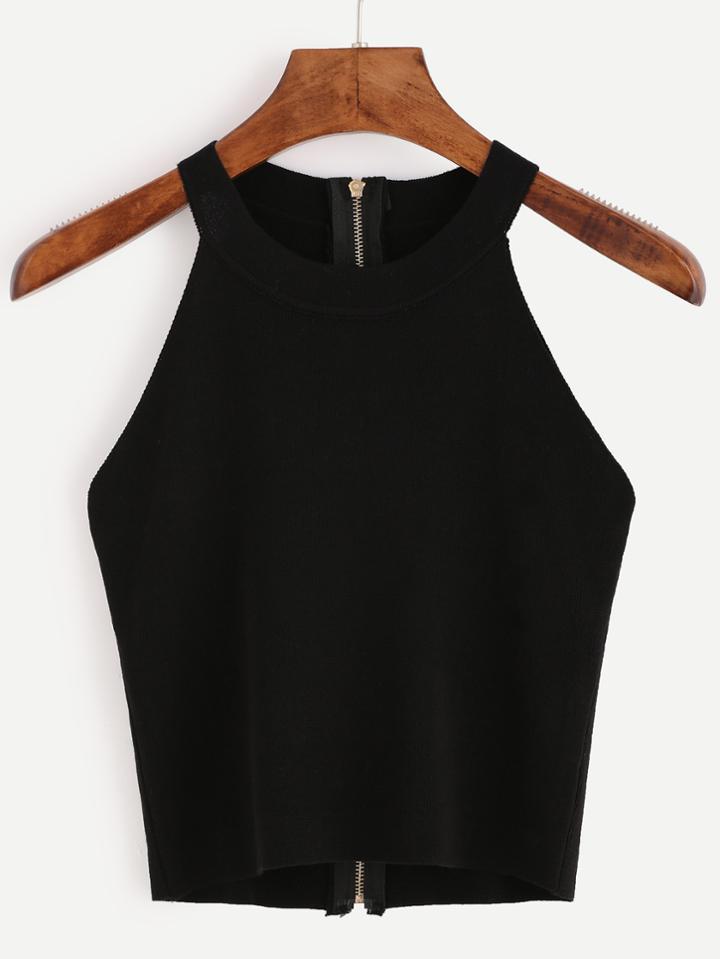 Romwe Black Zip Back Knit Halter Neck Top