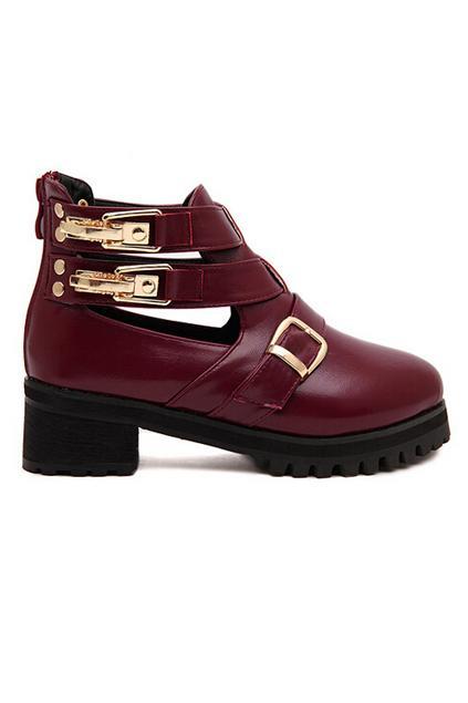 Romwe Multi Buckles Martin Boots