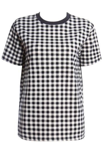 Romwe Romwe Check Ribbed Collar T-shirt