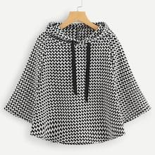 Romwe Houndstooth Print Capes Hooded Coat