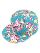 Romwe Turquoise Floral Print Baseball Cap