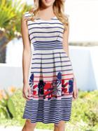 Romwe Sleeveless Striped Zipper Dress