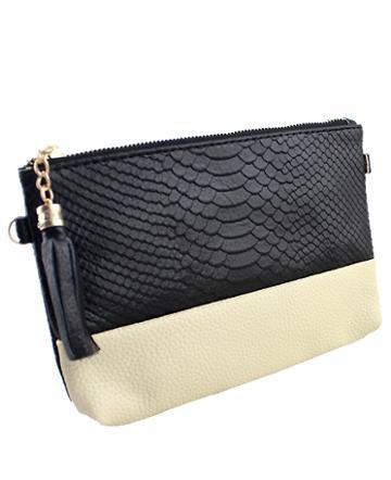 Romwe Black Crocodile Chain Satchels Bag