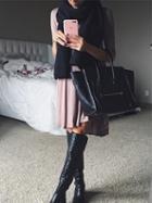Romwe Grey Plain Knee Length Tshirt Dress