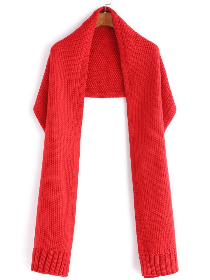 Romwe Red Waffle Knit Plain Shawl Scarf