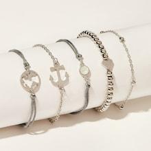Romwe Anchor & Heart Detail Bracelet 5pcs