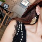 Romwe Feather Shaped  Drop Earrings