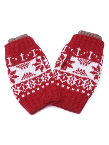 Romwe Red Snowflake Fingerless Ribbed Knit Gloves