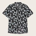 Romwe Guys Revere Collar Jungle Leaf Print Shirt