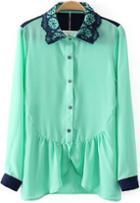Romwe Green Long Sleeve Ruffle Chiffon Blouse