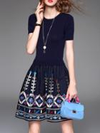 Romwe Navy Knit Embroidered Combo Dress