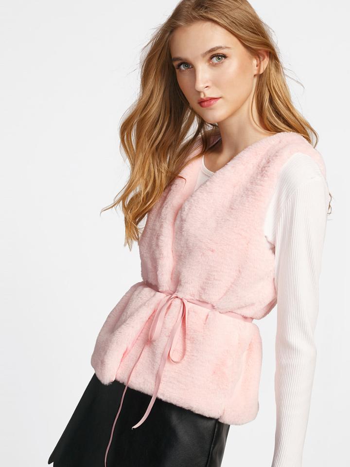 Romwe Faux Fur Vest Coat