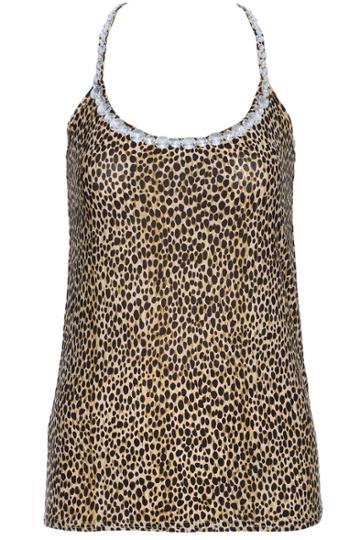Romwe Romwe Black Leopard Print Diamante Vest