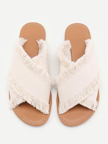 Romwe Raw Trim Cross Band Denim Flip Flops