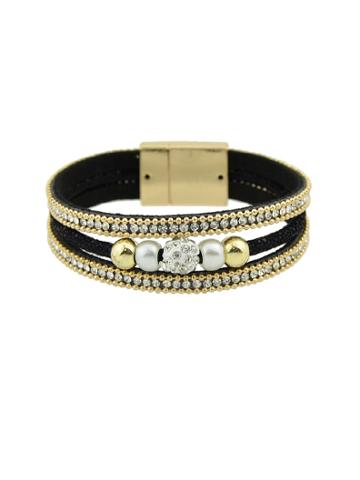 Romwe Multilayer Bracelet Wristband With Rhinestone Decoration