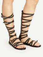 Romwe Buckle Strap Criss Cross Gladiator Sandals