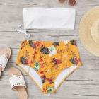 Romwe Plus Bandeau With Floral High Waist Bikini