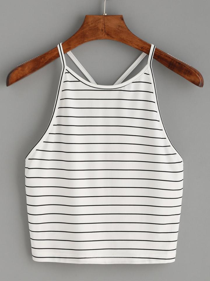 Romwe White Striped Y Back Cami Top