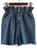Romwe Elastic Waist Frayed Denim Shorts