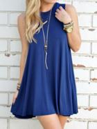 Romwe Plain Swing Tank Dress