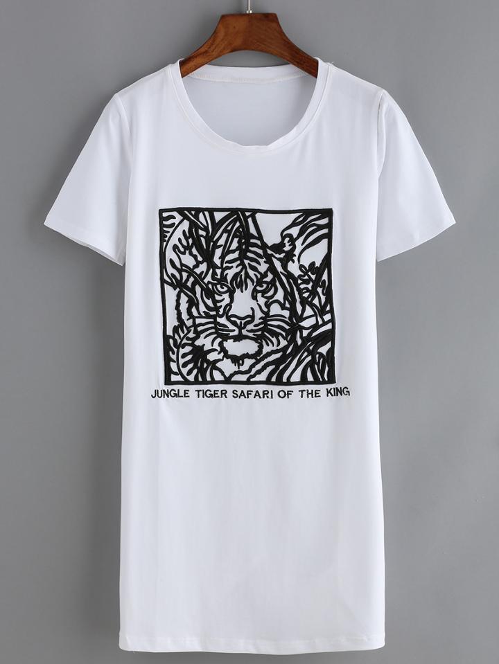 Romwe Embroidered White Tshirt Dress