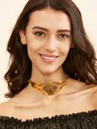 Romwe Gold Plated Geometric Hollow Out Choker Necklace