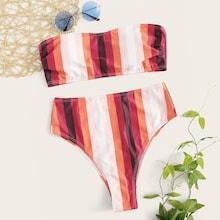 Romwe Ruched Striped Bandeau With High Waist Bikini Set