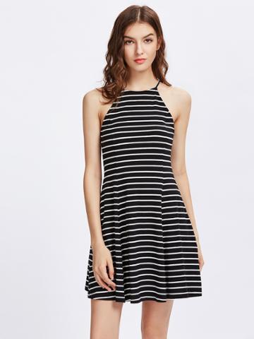 Romwe Striped Swing Racer Cami Dress
