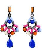 Romwe Multicolor Gemstone Drop Black Earrings