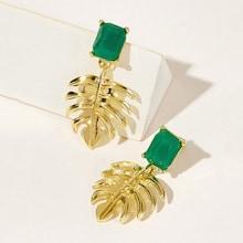 Romwe Gemstone Detail Palm Drop Earrings 1pair