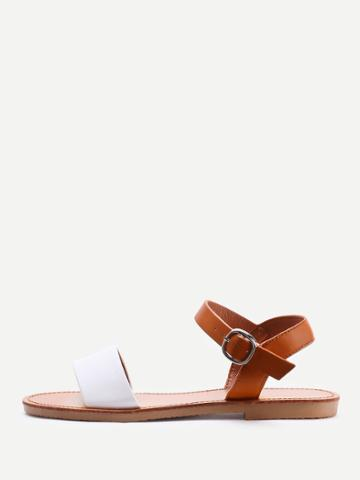 Romwe Two Tone Pu Open Toe Sandals