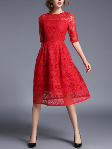 Romwe Lace Crochet Eblow Sleeve Dress