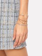 Romwe Rhinestone Moon & Star Design Bracelet Set
