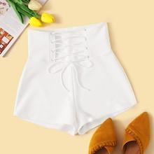 Romwe High Waist Lace Up Tie Front Shorts