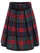 Romwe Plaid Pleated Red Skirt