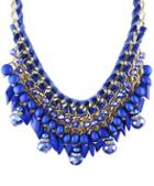 Romwe Blue Bead Chain Necklace