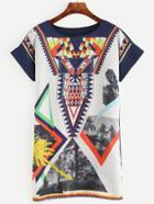 Romwe Multicolor Printed Shift Dress