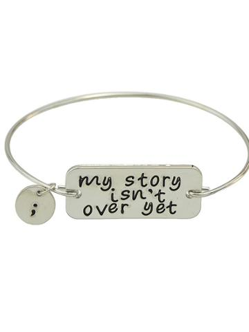 Romwe Silver Color Letters Printed Bracelets Bangles
