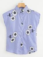 Romwe Floral Embroidered Single Breasted Striped Top