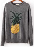 Romwe Pineapple Print Grey Sweater