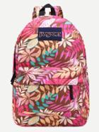 Romwe Pink Leaf Print Canvas Backpack