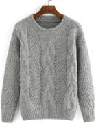 Romwe Cable Knit Loose Grey Sweater