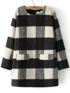 Romwe Round Neck Plaid Zipper Straight Dress